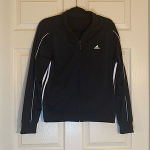 Adidas Black with white stripes zip up jacket